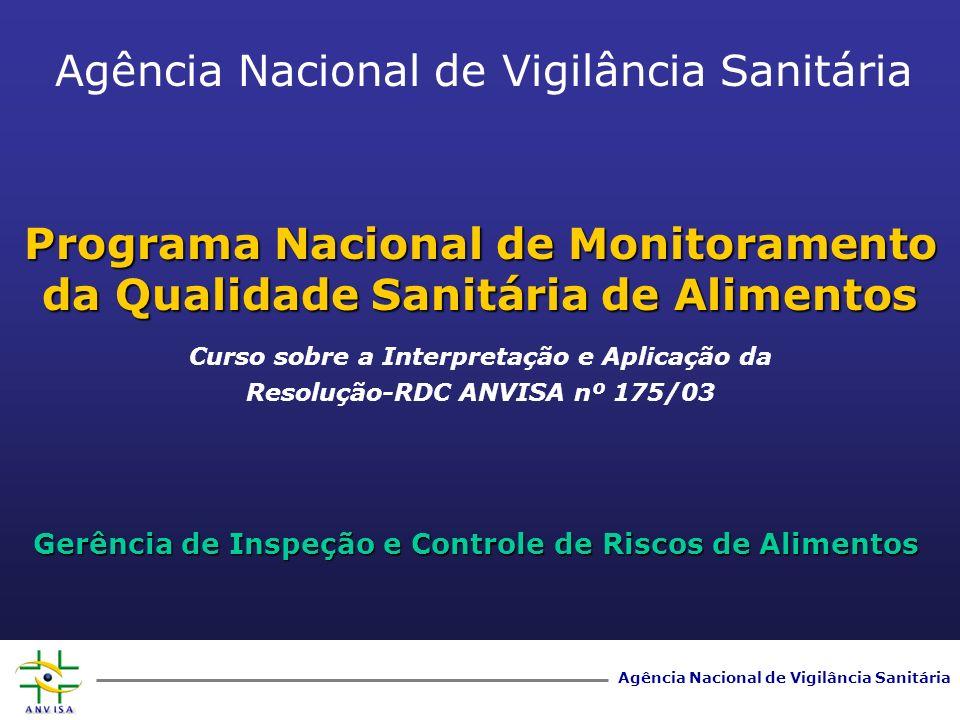 Agência Nacional de Vigilância Sanitária Programa Nacional de Monitoramento da Qualidade Sanitária de Alimentos Gerência de Inspeção e Controle de Ris