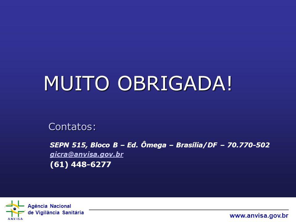 Agência Nacional de Vigilância Sanitária www.anvisa.gov.br MUITO OBRIGADA! Contatos: SEPN 515, Bloco B – Ed. Ômega – Brasília/DF – 70.770-502 gicra@an