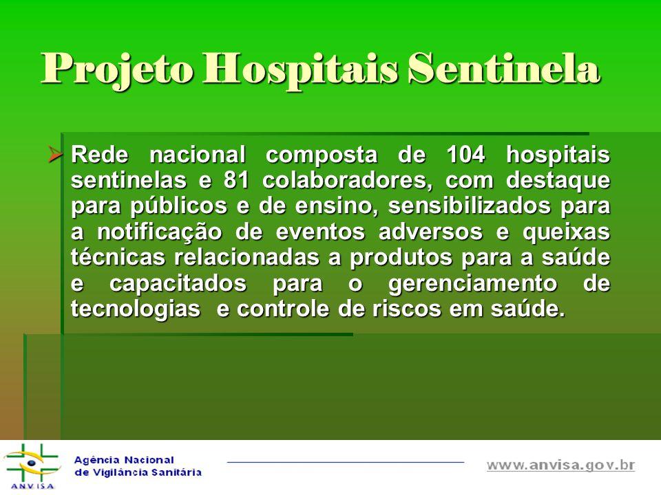 Rede nacional composta de 104 hospitais sentinelas e 81 colaboradores, com destaque para públicos e de ensino, sensibilizados para a notificação de ev
