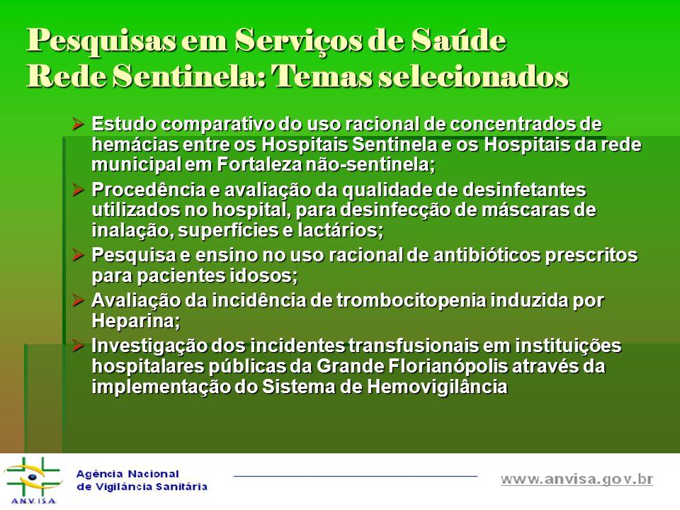 Pesquisas em Serviços de Saúde Rede Sentinela: Temas selecionados Estudo comparativo do uso racional de concentrados de hemácias entre os Hospitais Se