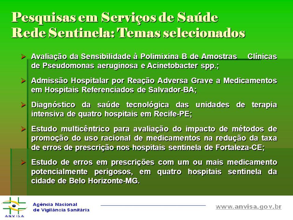 Pesquisas em Serviços de Saúde Rede Sentinela: Temas selecionados Avaliação da Sensibilidade à Polimixina B de Amostras Clínicas de Pseudomonas aerugi
