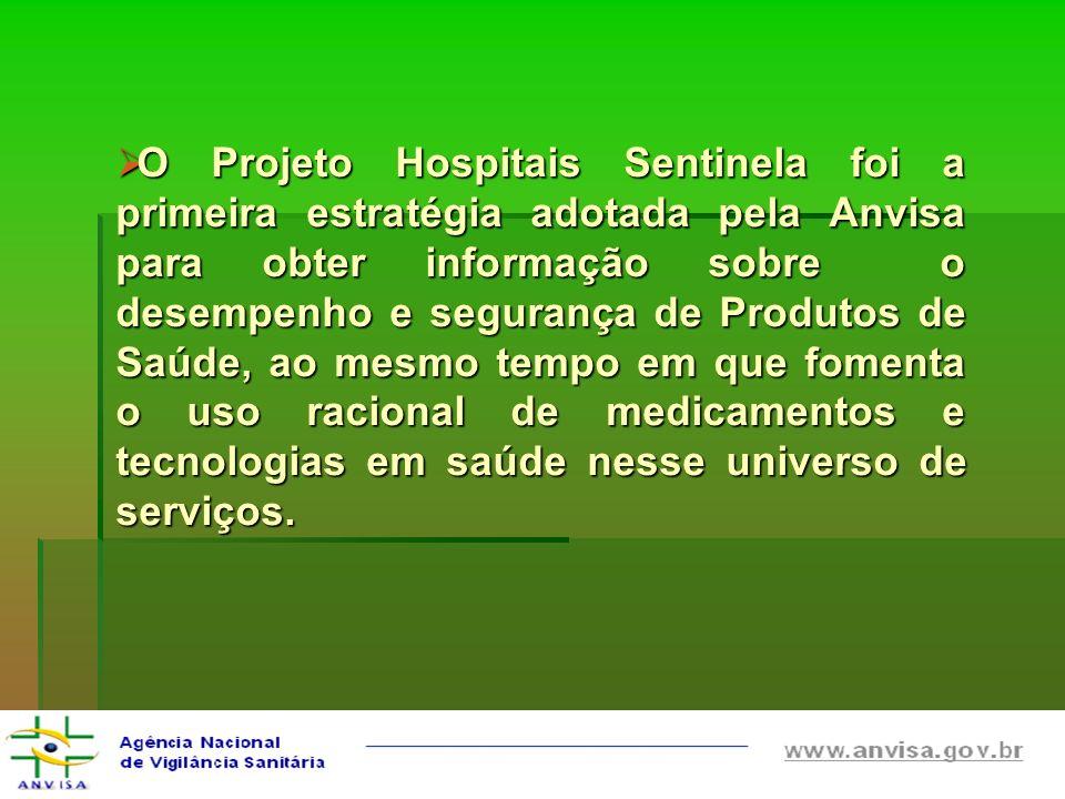 O Projeto Hospitais Sentinela foi a primeira estratégia adotada pela Anvisa para obter informação sobre o desempenho e segurança de Produtos de Saúde,