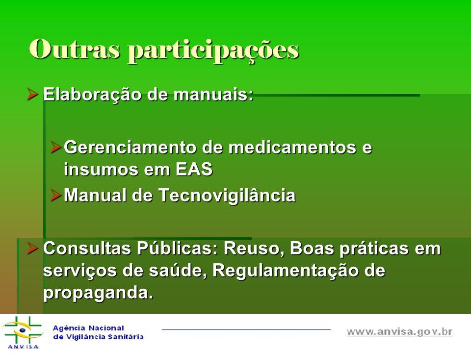 Outras participações Elaboração de manuais: Elaboração de manuais: Gerenciamento de medicamentos e insumos em EAS Gerenciamento de medicamentos e insu