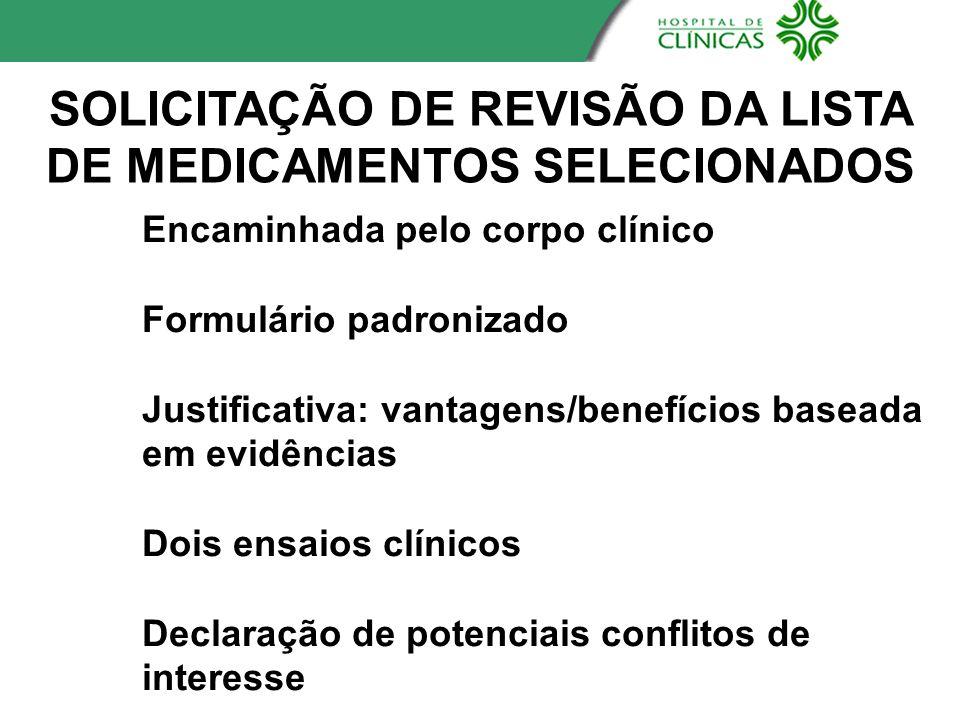 SOLICITAÇÃO DE REVISÃO DA LISTA DE MEDICAMENTOS SELECIONADOS Encaminhada pelo corpo clínico Formulário padronizado Justificativa: vantagens/benefícios