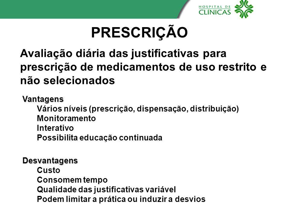 Avaliação diária das justificativas para prescrição de medicamentos de uso restrito e não selecionados PRESCRIÇÃO Vantagens Vários níveis (prescrição,