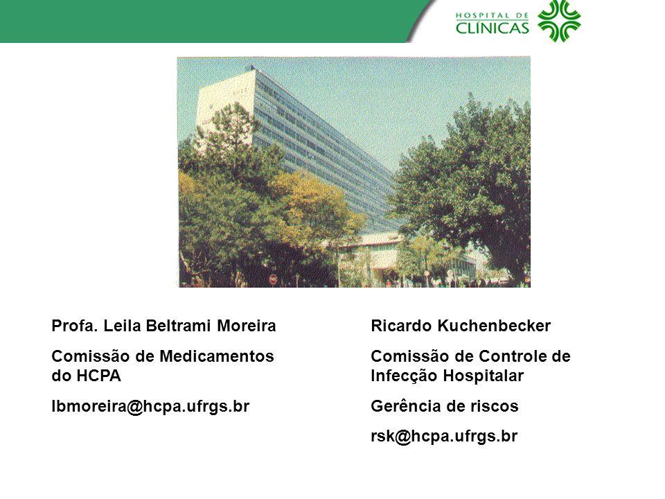 Profa. Leila Beltrami Moreira Comissão de Medicamentos do HCPA lbmoreira@hcpa.ufrgs.br Ricardo Kuchenbecker Comissão de Controle de Infecção Hospitala