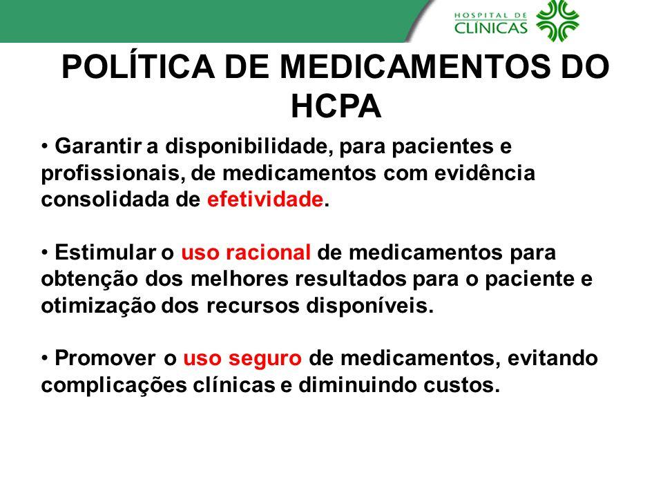 POLÍA DE MEDICAMENTOS DO HCPA Garantir a disponibilidade, para pacientes e profissionais, de medicamentos com evidência consolidada de efetividade. Es
