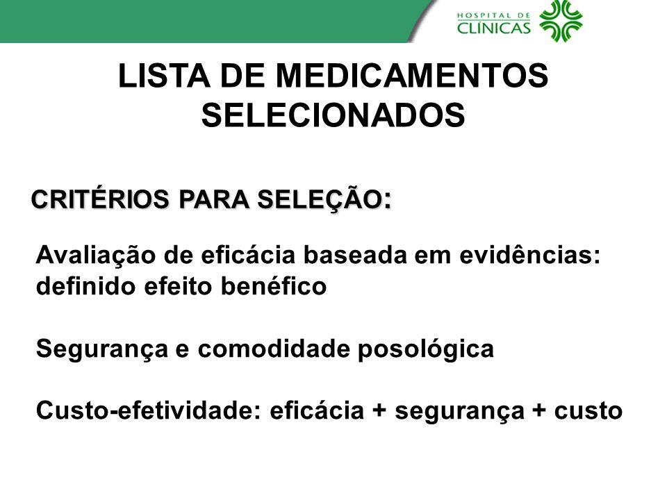 LISTA DE MEDICAMENTOS SELECIONADOS CRITÉRIOS PARA SELEÇÃO : Avaliação de eficácia baseada em evidências: definido efeito benéfico Segurança e comodida