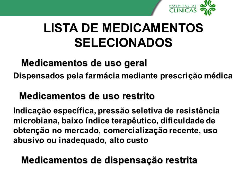 LISTA DE MEDICAMENTOS SELECIONADOS Medicamentos de uso geral Medicamentos de uso restrito Dispensados pela farmácia mediante prescrição médica Indicaç