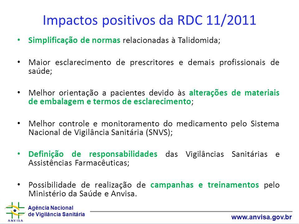 Impactos positivos da RDC 11/2011 Simplificação de normas relacionadas à Talidomida; Maior esclarecimento de prescritores e demais profissionais de sa