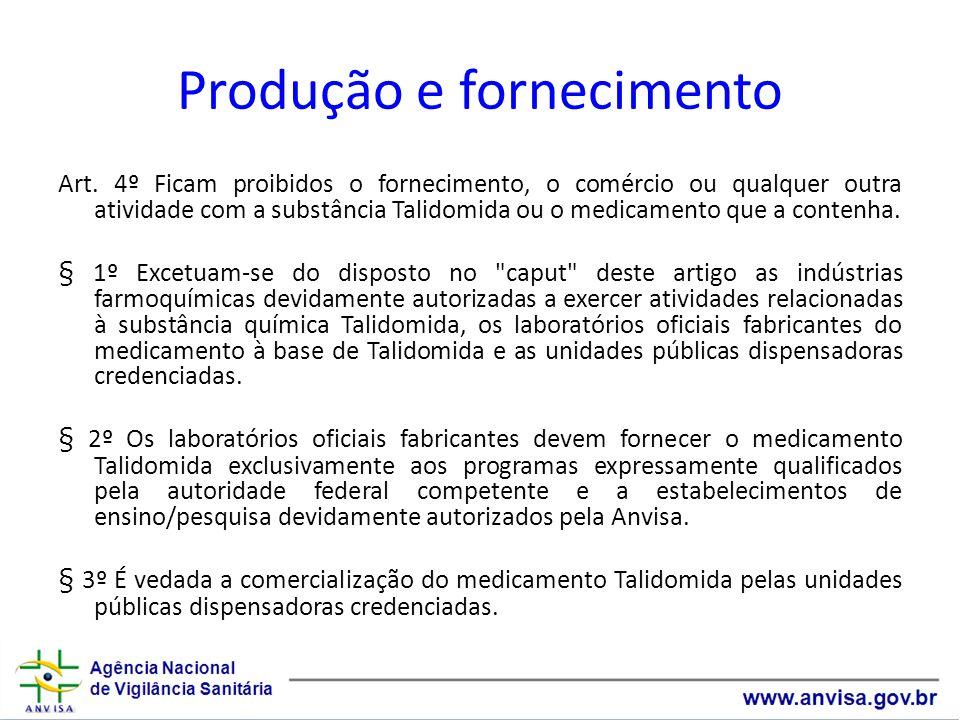 Produção e fornecimento Art. 4º Ficam proibidos o fornecimento, o comércio ou qualquer outra atividade com a substância Talidomida ou o medicamento qu