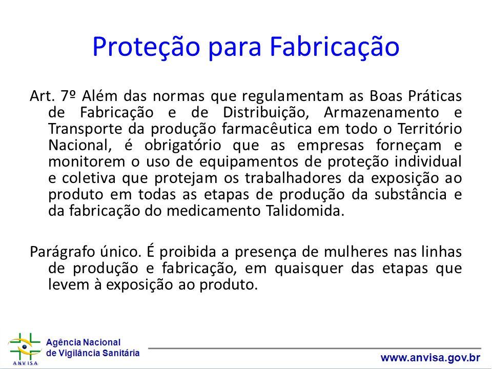Proteção para Fabricação Art. 7º Além das normas que regulamentam as Boas Práticas de Fabricação e de Distribuição, Armazenamento e Transporte da prod