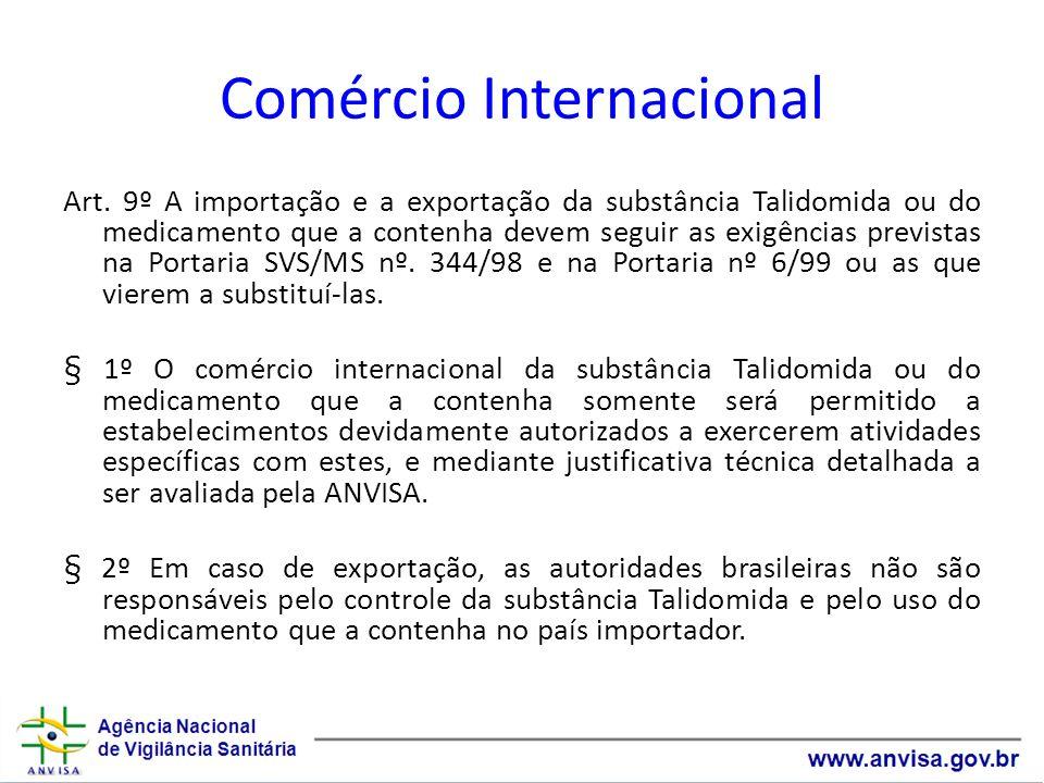 Comércio Internacional Art. 9º A importação e a exportação da substância Talidomida ou do medicamento que a contenha devem seguir as exigências previs