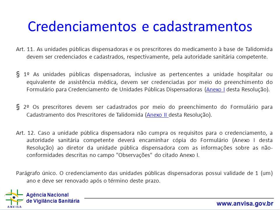 Credenciamentos e cadastramentos Art. 11. As unidades públicas dispensadoras e os prescritores do medicamento à base de Talidomida devem ser credencia