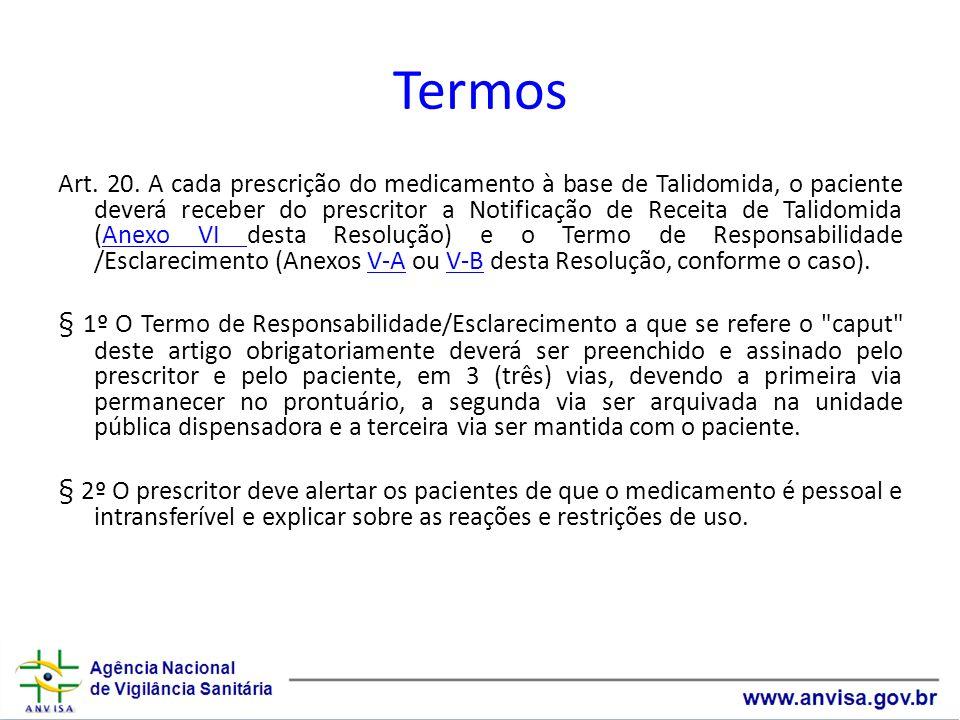 Termos Art. 20. A cada prescrição do medicamento à base de Talidomida, o paciente deverá receber do prescritor a Notificação de Receita de Talidomida