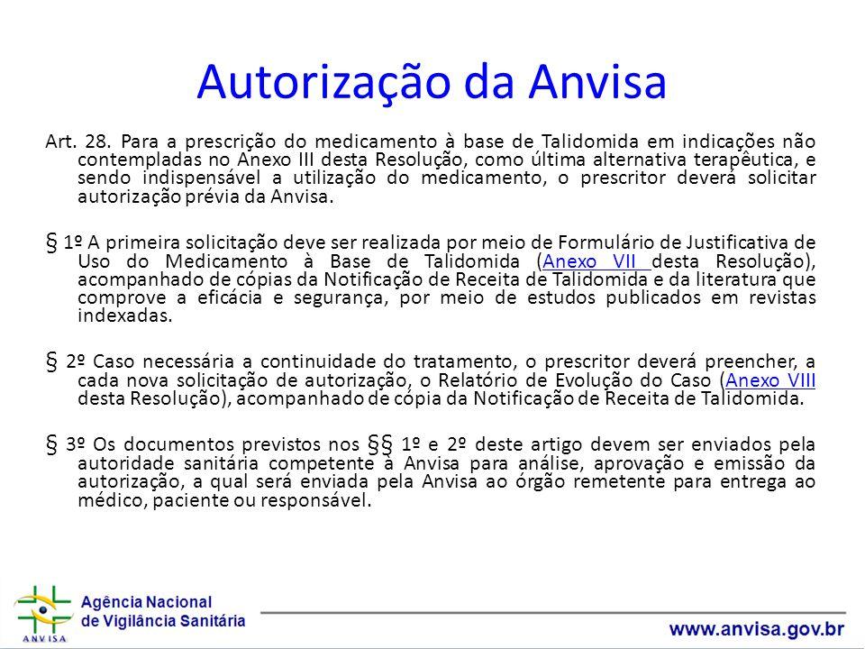 Autorização da Anvisa Art. 28. Para a prescrição do medicamento à base de Talidomida em indicações não contempladas no Anexo III desta Resolução, como