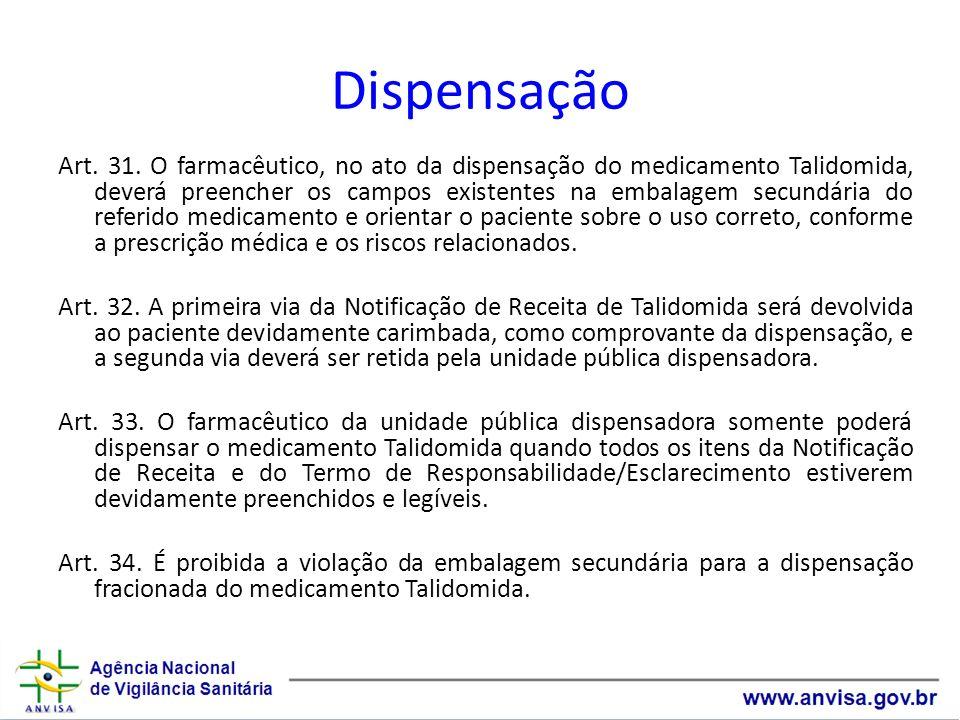 Dispensação Art. 31. O farmacêutico, no ato da dispensação do medicamento Talidomida, deverá preencher os campos existentes na embalagem secundária do