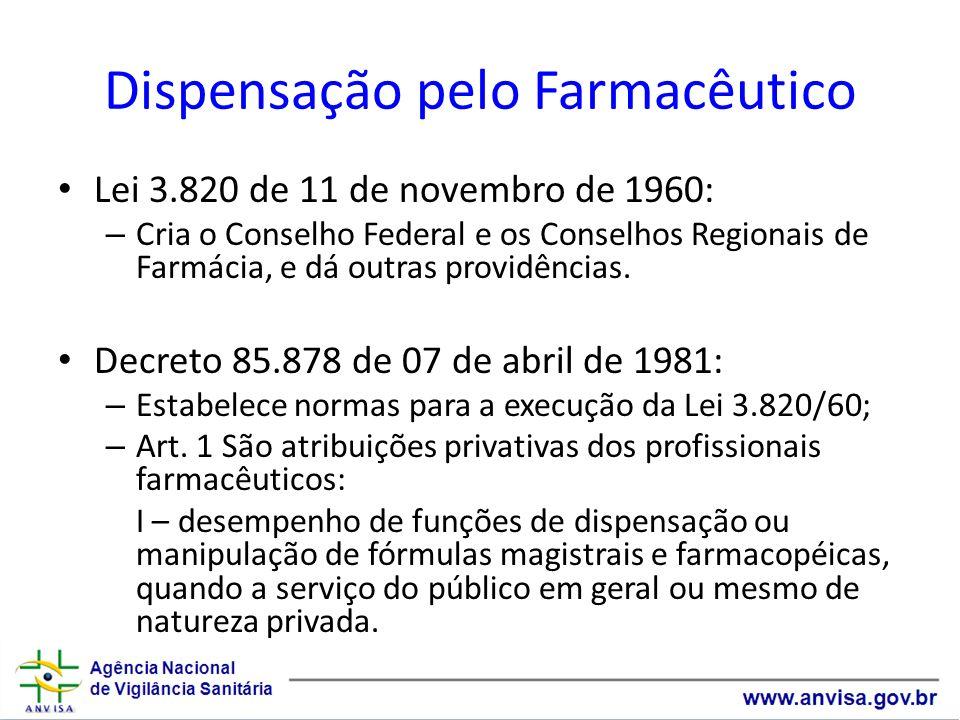 Dispensação pelo Farmacêutico Lei 3.820 de 11 de novembro de 1960: – Cria o Conselho Federal e os Conselhos Regionais de Farmácia, e dá outras providê