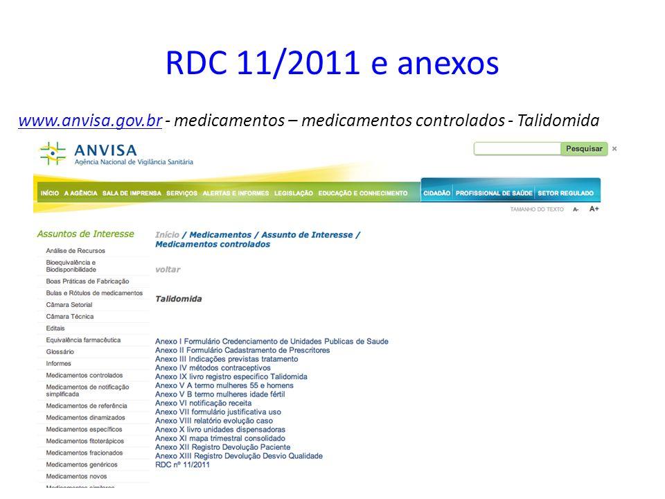 RDC 11/2011 e anexos www.anvisa.gov.brwww.anvisa.gov.br - medicamentos – medicamentos controlados - Talidomida