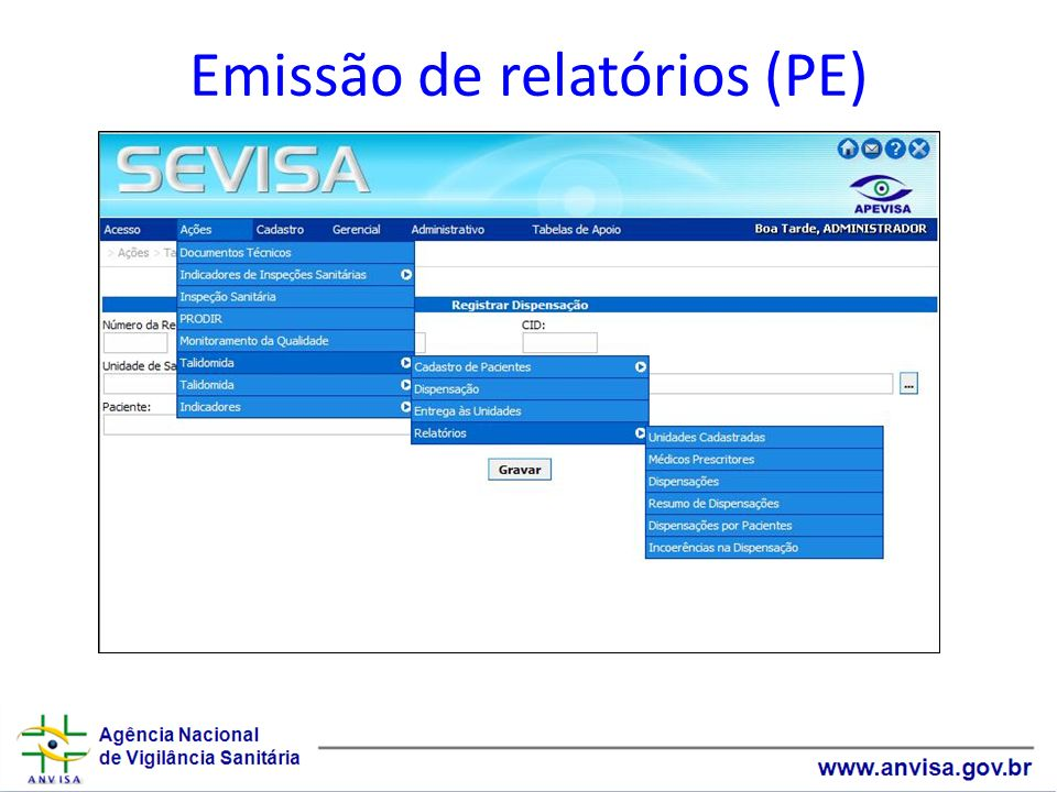 Emissão de relatórios (PE)