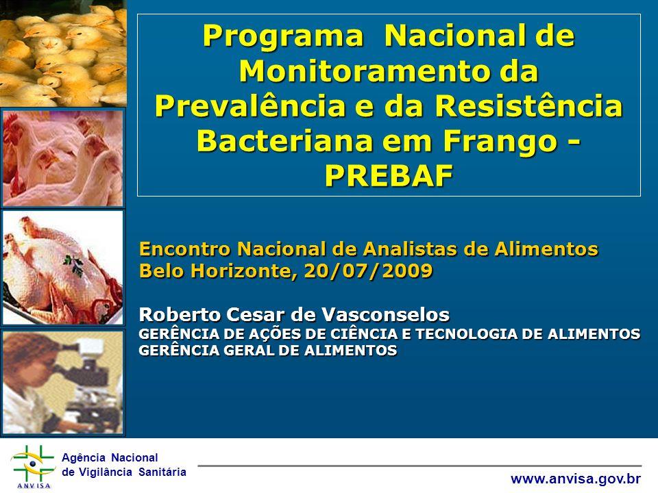 Agência Nacional de Vigilância Sanitária www.anvisa.gov.br Programa Nacional de Monitoramento da Prevalência e da Resistência Bacteriana em Frango - P