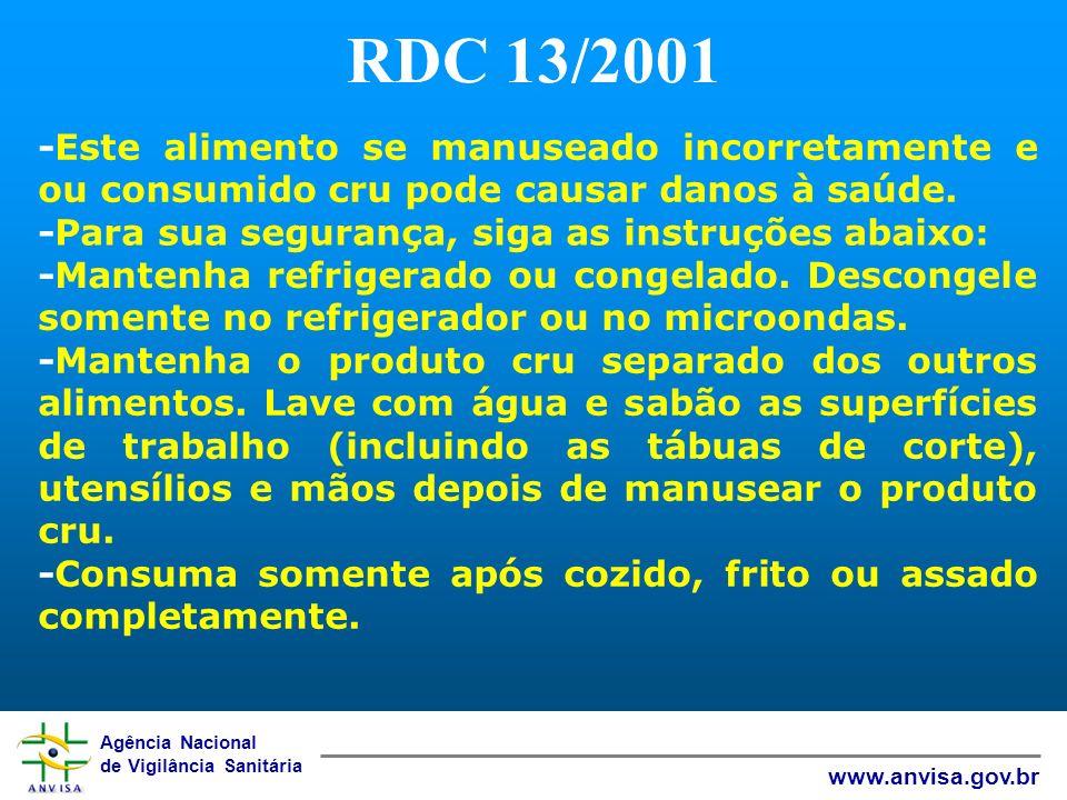 Agência Nacional de Vigilância Sanitária www.anvisa.gov.br RDC 13/2001 -Este alimento se manuseado incorretamente e ou consumido cru pode causar danos