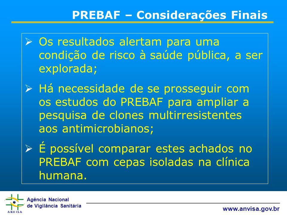 Agência Nacional de Vigilância Sanitária www.anvisa.gov.br Os resultados alertam para uma condição de risco à saúde pública, a ser explorada; Há neces