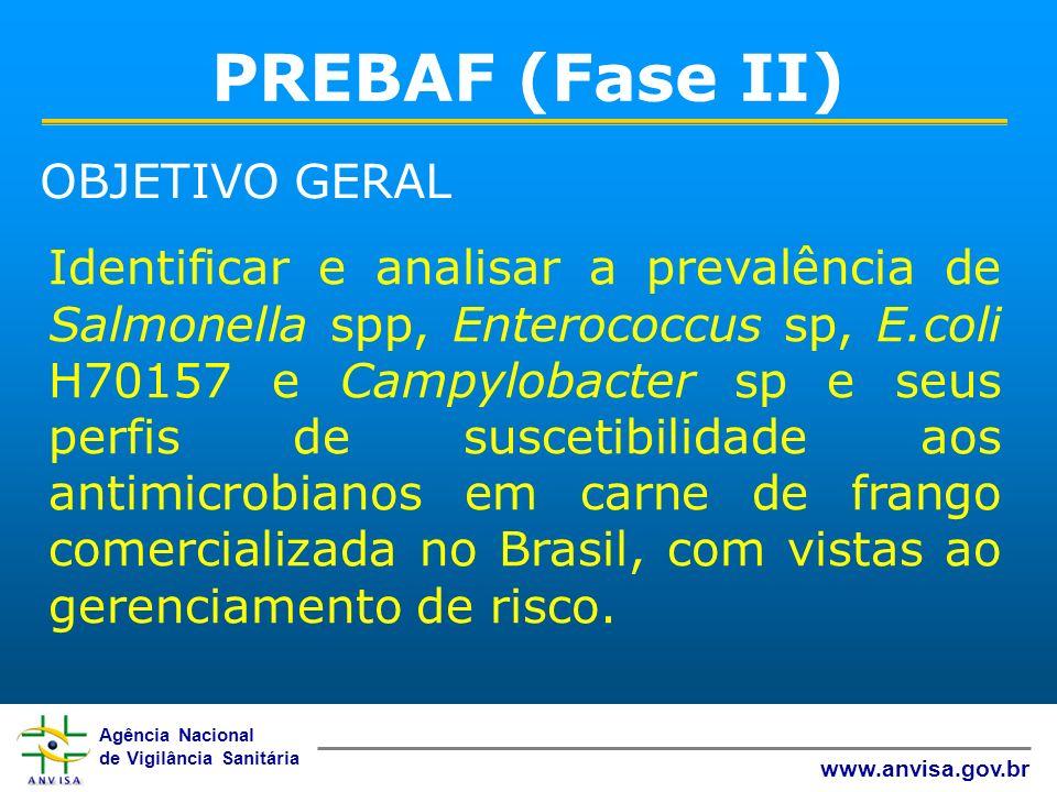 Agência Nacional de Vigilância Sanitária www.anvisa.gov.br PREBAF (Fase II) Identificar e analisar a prevalência de Salmonella spp, Enterococcus sp, E