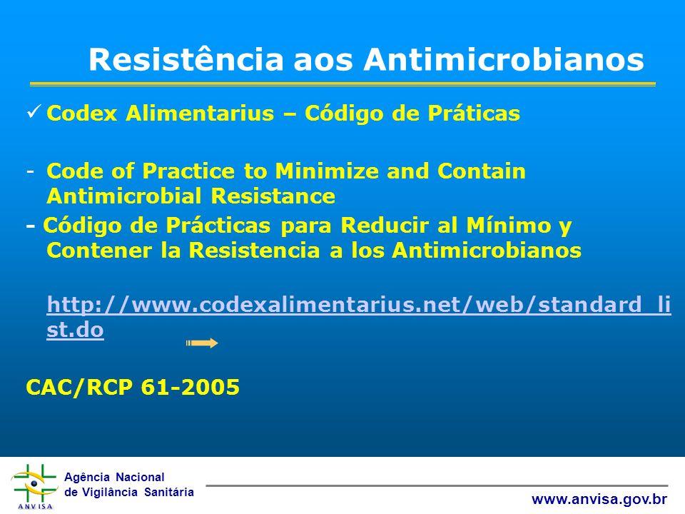 Agência Nacional de Vigilância Sanitária www.anvisa.gov.br Resistência aos Antimicrobianos Codex Alimentarius – Código de Práticas -Code of Practice t