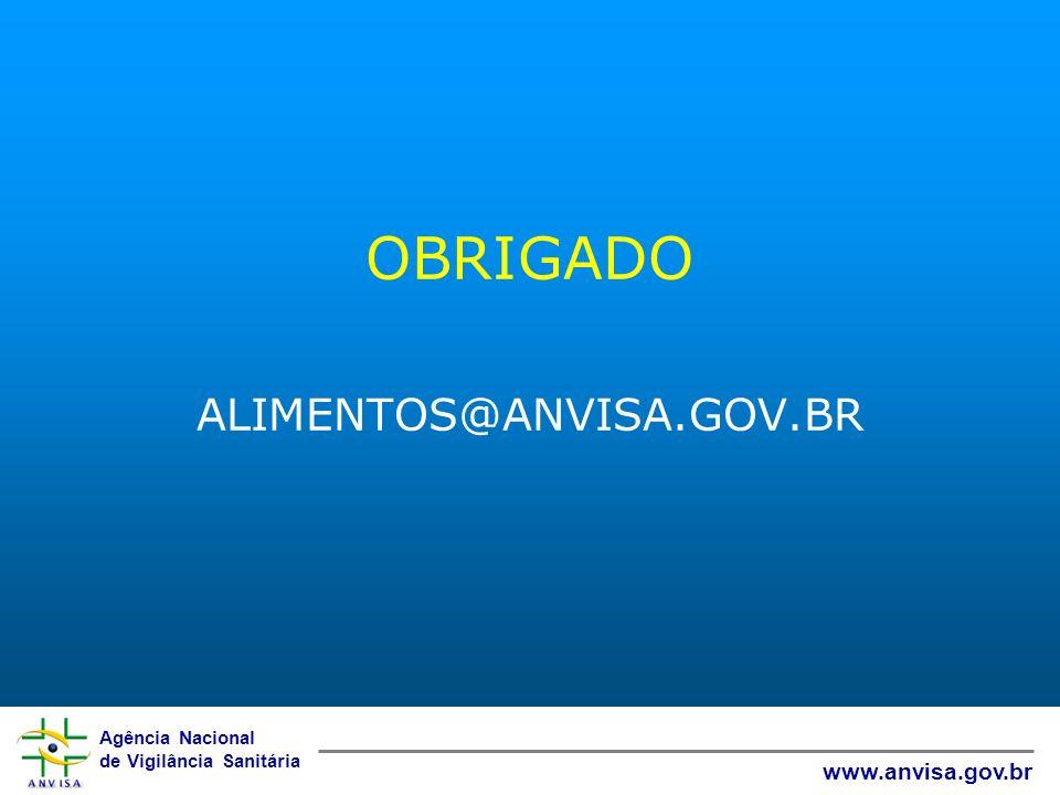 Agência Nacional de Vigilância Sanitária www.anvisa.gov.br OBRIGADO ALIMENTOS@ANVISA.GOV.BR