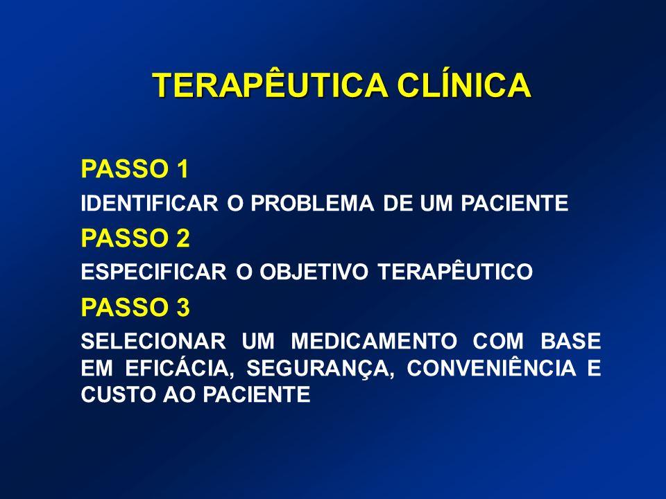 TERAPÊUTICA CLÍNICA PASSO 1 IDENTIFICAR O PROBLEMA DE UM PACIENTE PASSO 2 ESPECIFICAR O OBJETIVO TERAPÊUTICO PASSO 3 SELECIONAR UM MEDICAMENTO COM BAS