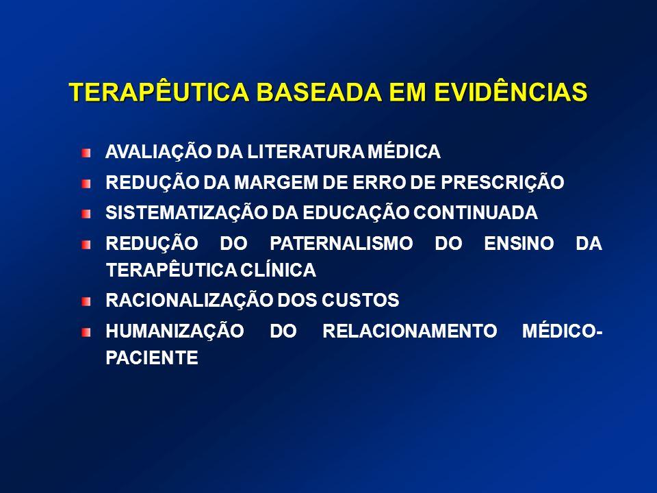 TERAPÊUTICA BASEADA EM EVIDÊNCIAS AVALIAÇÃO DA LITERATURA MÉDICA REDUÇÃO DA MARGEM DE ERRO DE PRESCRIÇÃO SISTEMATIZAÇÃO DA EDUCAÇÃO CONTINUADA REDUÇÃO