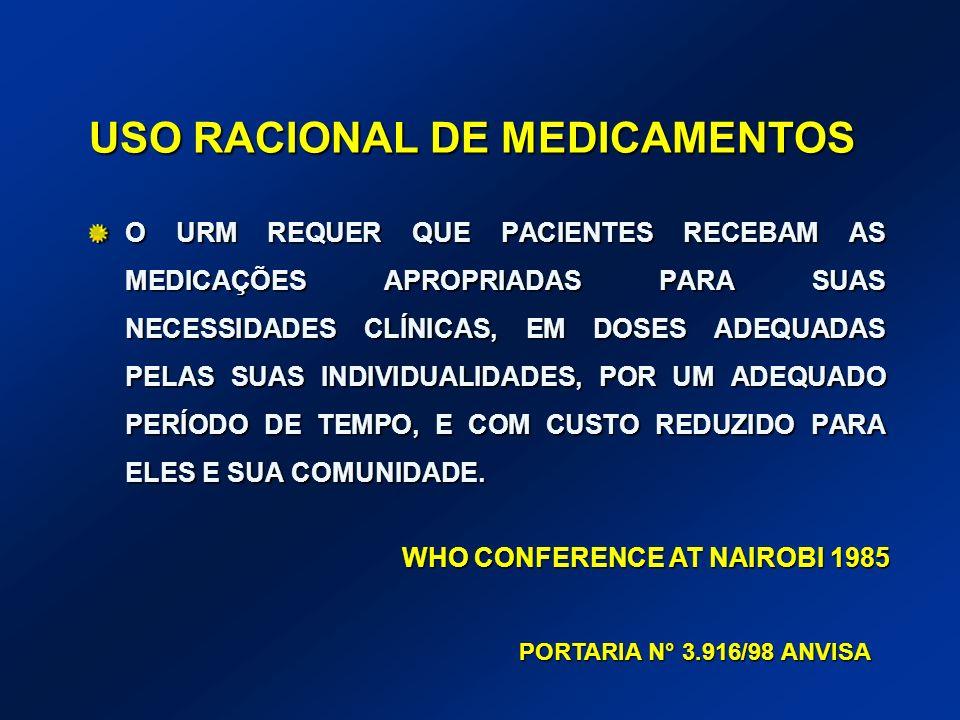 USO RACIONAL DE MEDICAMENTOS O URM REQUER QUE PACIENTES RECEBAM AS MEDICAÇÕES APROPRIADAS PARA SUAS NECESSIDADES CLÍNICAS, EM DOSES ADEQUADAS PELAS SU