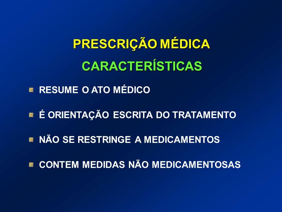 RESUME O ATO MÉDICO É ORIENTAÇÃO ESCRITA DO TRATAMENTO NÃO SE RESTRINGE A MEDICAMENTOS CONTEM MEDIDAS NÃO MEDICAMENTOSAS CARACTERÍSTICAS PRESCRIÇÃO MÉ