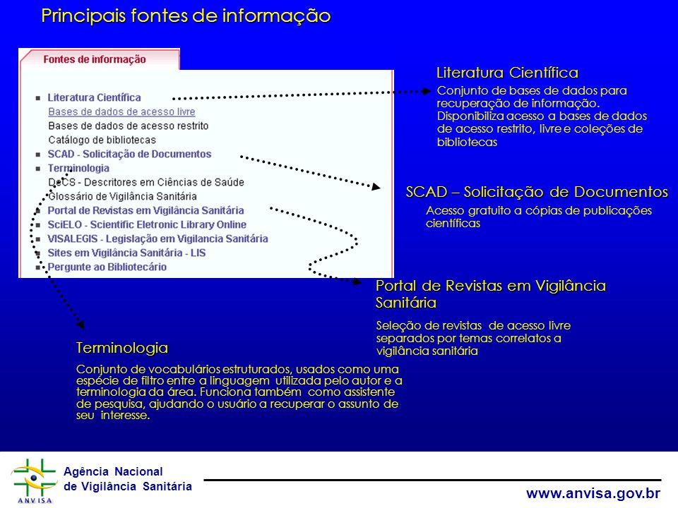 Agência Nacional de Vigilância Sanitária www.anvisa.gov.br Gestão do Conhecimento Técnico Científico Portal do Conhecimento – BVS em Vigilância Sanitá