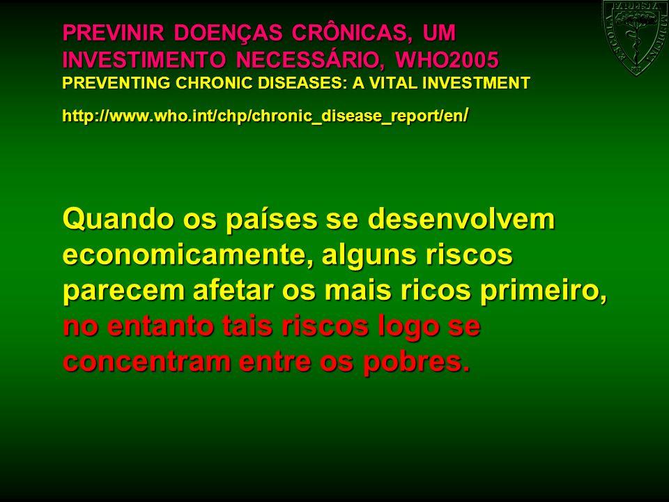 CAUSAS DAS DOENÇAS CRÔNICAS DETERMINANTES SÓCIO- ECONÔMICOS, CULTURAIS, POLÍTICOS E AMBIENTAIS FATORES DE RISCO MODIFICÁVEIS FATORES DE RISCO INTERMEDIÁRIOS PRINCIPAIS DOENÇAS CRÔNICAS GLOBALIZAÇÃO DIETAS GERADORAS DE DOENÇAS AUMENTO DA PRESSÃO ARTERIAL DOENÇA CARDÍACA URBANIZAÇÃO INATIVIDADE FÍSICA TABAGISMO AUMENTO DA GLICOSE SANGUÍNEA ACIDENTE VASCULAR CEREBRAL ENVELHECIMENTO DA POPULAÇÃO FATORES DE RISCO NÃO MODIFICÁVEIS LIPÍDEOS SANGUÍNEOS ANORMAIS CANCER IDADESOBREPESO/OBESIDADE DOENÇAS RESPIRATÓRI AS CRÔNICAS HEREDITARIEDADEDIABETES