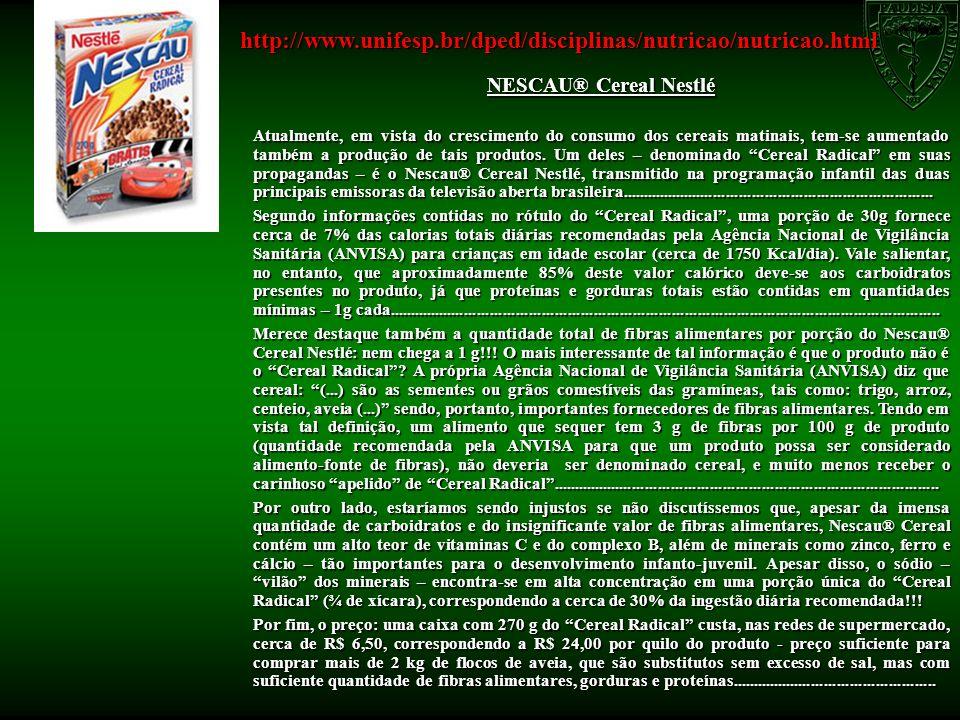 NESCAU® Cereal Nestlé Atualmente, em vista do crescimento do consumo dos cereais matinais, tem-se aumentado também a produção de tais produtos. Um del