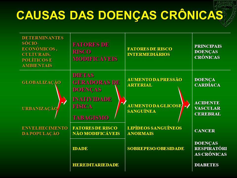 CAUSAS DAS DOENÇAS CRÔNICAS DETERMINANTES SÓCIO- ECONÔMICOS, CULTURAIS, POLÍTICOS E AMBIENTAIS FATORES DE RISCO MODIFICÁVEIS FATORES DE RISCO INTERMED