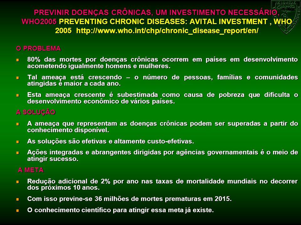 PREVINIR DOENÇAS CRÔNICAS, UM INVESTIMENTO NECESSÁRIO, WHO2005 PREVENTING CHRONIC DISEASES: AVITAL INVESTMENT, WHO 2005 http://www.who.int/chp/chronic