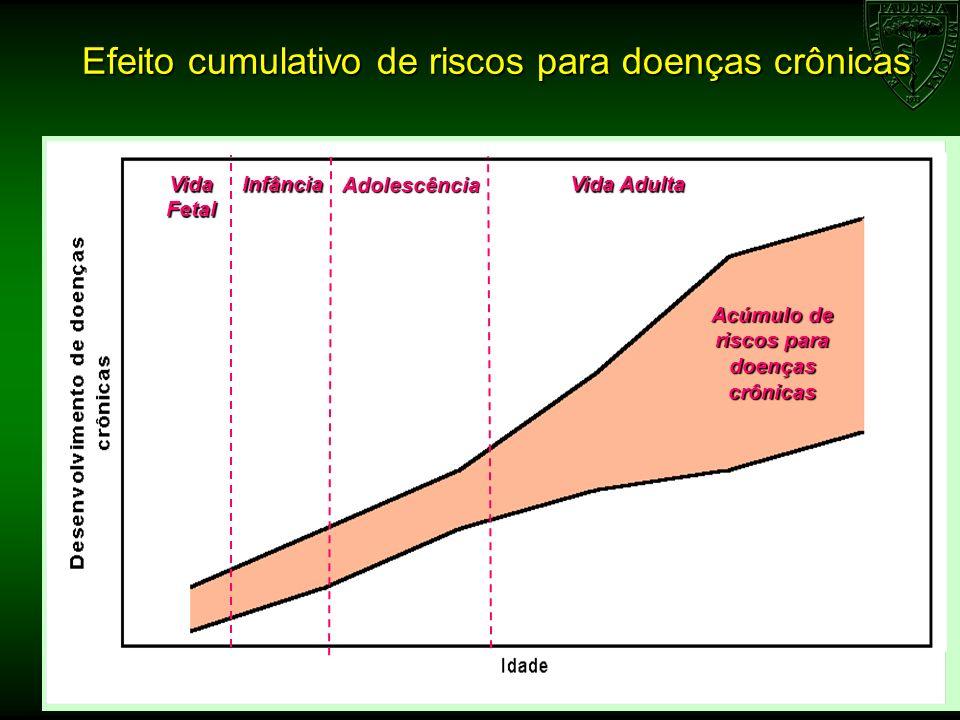 Efeito cumulativo de riscos para doenças crônicas Vida Fetal Infância Adolescência Vida Adulta Acúmulo de riscos para doenças crônicas