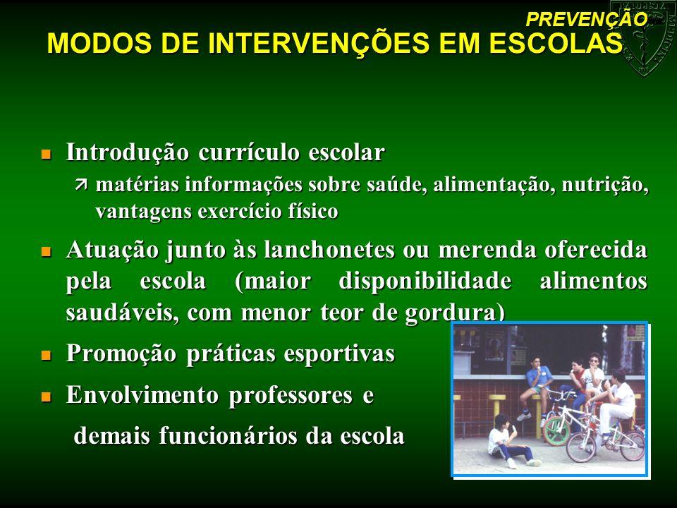 MODOS DE INTERVENÇÕES EM ESCOLAS n Introdução currículo escolar ä matérias informações sobre saúde, alimentação, nutrição, vantagens exercício físico