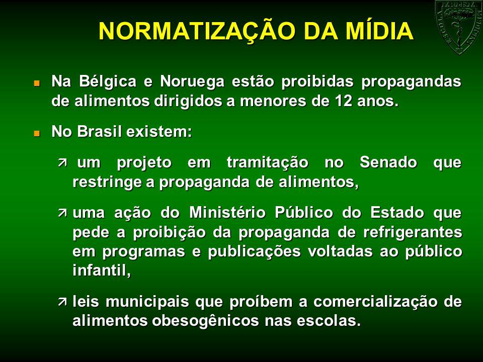 NORMATIZAÇÃO DA MÍDIA n Na Bélgica e Noruega estão proibidas propagandas de alimentos dirigidos a menores de 12 anos. n No Brasil existem: ä um projet