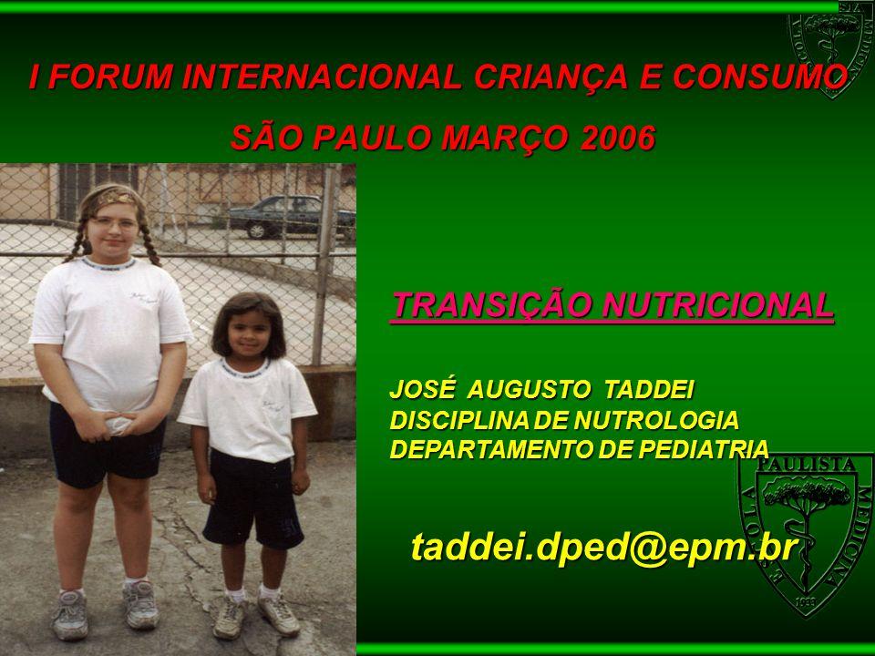 TRANSIÇÃO NUTRICIONAL TRANSIÇÃO NUTRICIONAL JOSÉ AUGUSTO TADDEI DISCIPLINA DE NUTROLOGIA DEPARTAMENTO DE PEDIATRIA taddei.dped@epm.br taddei.dped@epm.
