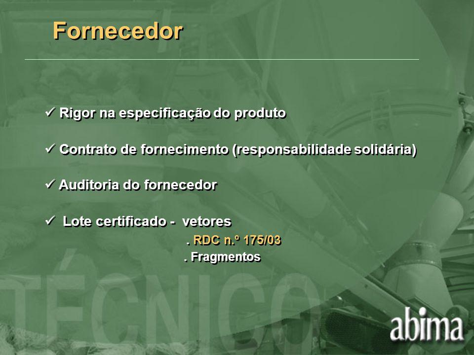 Fornecedor Rigor na especificação do produto Contrato de fornecimento (responsabilidade solidária) Auditoria do fornecedor Lote certificado - vetores.