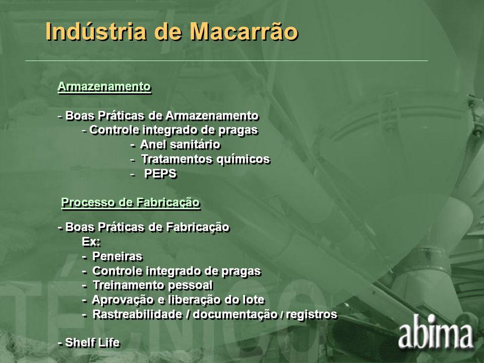 Armazenamento - Boas Práticas de Armazenamento - Controle integrado de pragas - Anel sanitário - Tratamentos químicos - PEPS Processo de Fabricação -