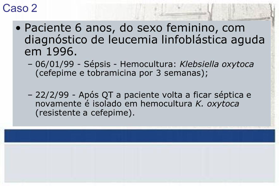 Paciente 6 anos, do sexo feminino, com diagnóstico de leucemia linfoblástica aguda em 1996.