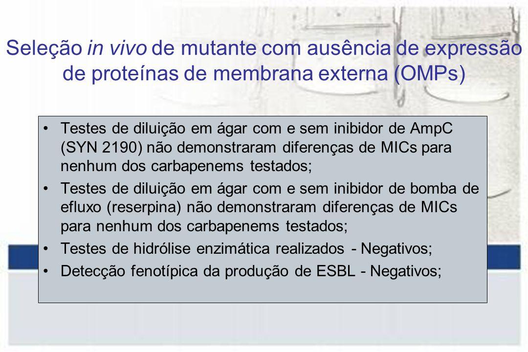 Testes de diluição em ágar com e sem inibidor de AmpC (SYN 2190) não demonstraram diferenças de MICs para nenhum dos carbapenems testados; Testes de diluição em ágar com e sem inibidor de bomba de efluxo (reserpina) não demonstraram diferenças de MICs para nenhum dos carbapenems testados; Testes de hidrólise enzimática realizados - Negativos; Detecção fenotípica da produção de ESBL - Negativos; Seleção in vivo de mutante com ausência de expressão de proteínas de membrana externa (OMPs)
