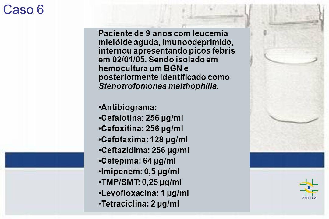 Caso 6 Paciente de 9 anos com leucemia mielóide aguda, imunoodeprimido, internou apresentando picos febris em 02/01/05.