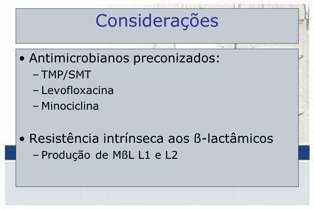 Considerações Antimicrobianos preconizados: –TMP/SMT –Levofloxacina –Minociclina Resistência intrínseca aos ß-lactâmicos –Produção de MßL L1 e L2