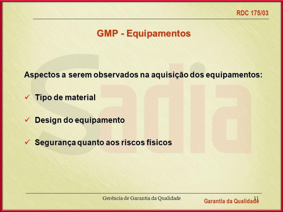 Garantia da Qualidade RDC 175/03 Gerência de Garantia da Qualidade11 GMP - Equipamentos Aspectos a serem observados na aquisição dos equipamentos: Tipo de material Tipo de material Design do equipamento Design do equipamento Segurança quanto aos riscos físicos Segurança quanto aos riscos físicos
